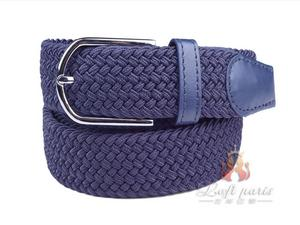 Navy Leather Covered Buckle Woven Elastic Stretch Belt
