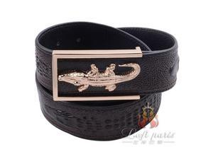 Mens leather LACOSTE plate buckle belt