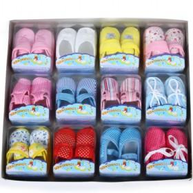 12 Pair In One Box Baby Cloth Shoes Set