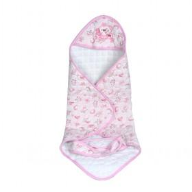 Middle Size White With Pink Floral Prints Baby Blankets