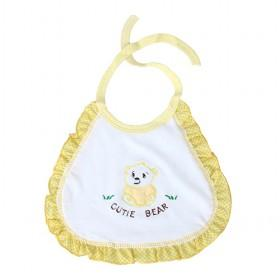 Hot Sale White And Yellow Cutie Bear Decorative Baby Bibs