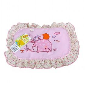 Cute Pink Cartoon Kids Soft Pillow Baby Cushion With Lace