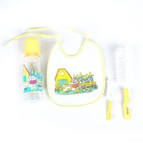 Cute Yellow Cartoon Prints Insulation Feeding Bottle Set With Bib