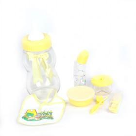 Yellow Plastic 6 Pcs Insulation Milk Feeding Bottles Set