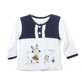 Dark Blue With White Cartoon Rabbit Prints Gauze Baby Clothes