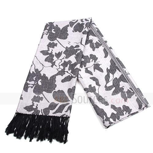 fashion grey violet floral scarf
