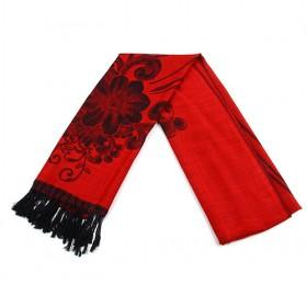 Fashuion Red And Black Floral Scarf,womens Scarf,wholesale Scarf