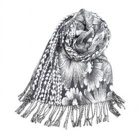 Fashion Black And White Floral Scarf.cotton Scarf,womens Scarf,wholesale Scarf