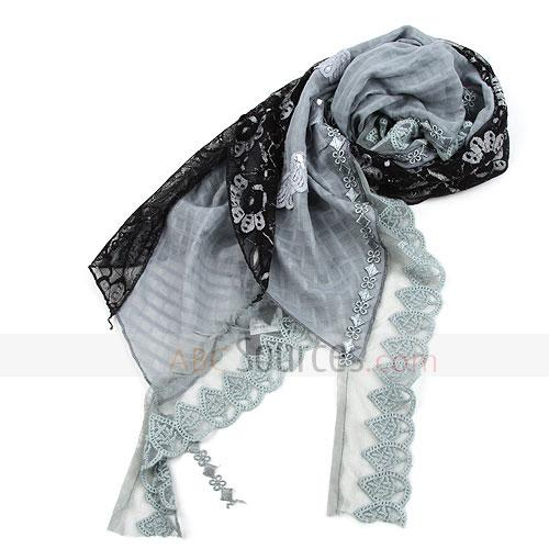 black and grey floral scarf