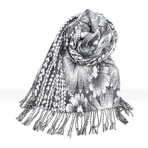 fashion black and white floral scarf