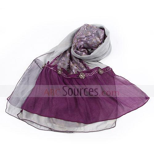 grey and purple floral scarf
