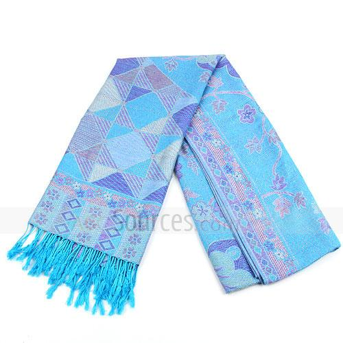 fashion sky blue floral cotton scarf