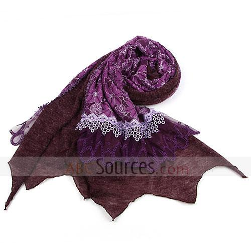 double layer purple floral scarf