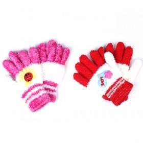 Cute Feather Yarn Gloves, Multi-color, Best-selling