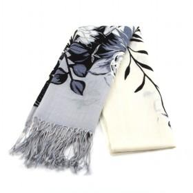 Beige And Black Floral Scarf