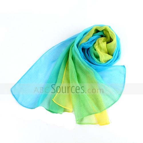 3 colors yarn scarf(blue+yellow+green)