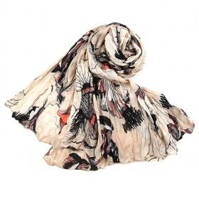 Beige Floral Cotton Scarf