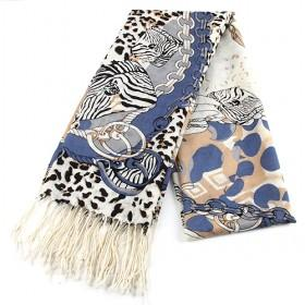 Fashion Dark Blue Floral Scarf