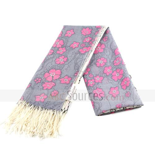 grey and rose red floral scarf