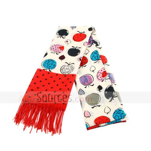 fruits figures wool scarf