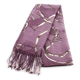 Purple Wool Scarf Leather Beit