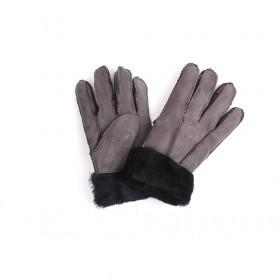 Red Genuine Leather Gloves With White Hair