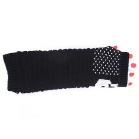 Hot Sale Fashion Long Fingerless Glove, Ladies Gloves,Arm Sleeve,Knitted Glove,Black Winter Glove