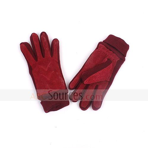 red pigskin gloves