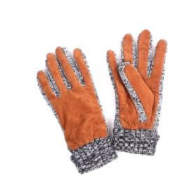Orange Pigskin Gloves With Grey Wool