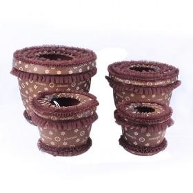 Brown Spots Flowerpot With 100% Environmental PP With Cute PU Cover