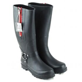 wholesale Womens Rain Boots Black Zip-LC101311215