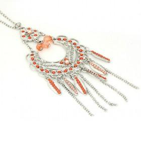 Orange Beaded Alloy Necklaces