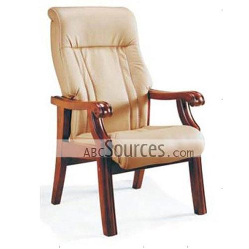 wholesale simple design beige leather wooden computer chair office