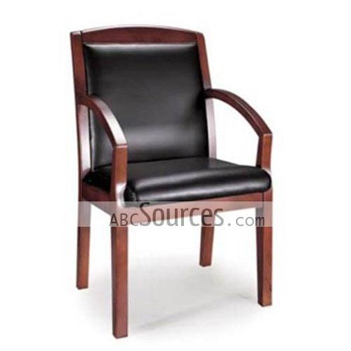 Beau Simple Design Black Leather Wooden Computer Chair/ Office Chair/ Boss Chair  With Armrest