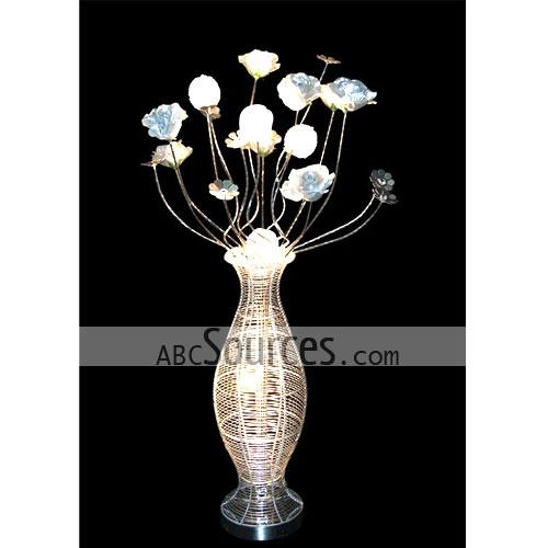 Wholesale white flowers table lamp decorative lamp floor lamp rnthis wholesale white flowers table lamp is in vase design it is made of aluminium wire this decorative lamp can also keyboard keysfo Gallery