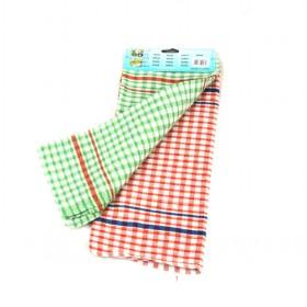 39 And 64cm 2pcs Red And Green Plaid Cotton Rags And Cotton Towels