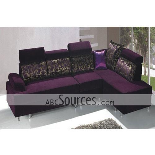 Wholesale Romantic Dark Purple And Black Fabric Sofa Set Lc111311080