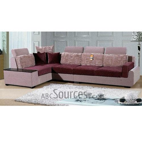 Pink Fabric Sofa Astrid Modern Corner Bed In