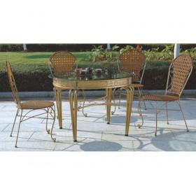 Best Selling Beige Rattan Dining Table And Chair Set For Sale