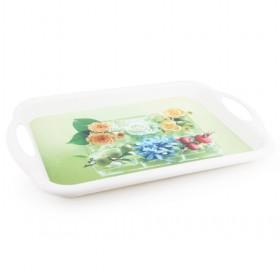 Garden Theme White Plastic Serving Tray Painted Flowers For Home And Restaurant
