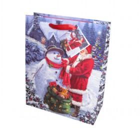 Popular Stylish Cartoon Christmas Santa Claus Prints Paper Chritmas Gift Bag