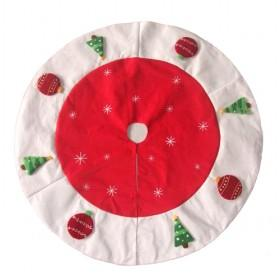 150cm White ; Burgundy Christmas Tree Skirt With Accessories Attached