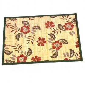 Single Square Bamboo Flower Pattern Placemat With Green Edged Table Mats