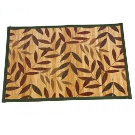 Single Square Bamboo Leaf Pattern Placemat With Green Edged Table Mats