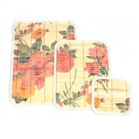 Hot Sale Floral Pattern Prints Square Bamboo Eco-friendly Placemat Set Of 3