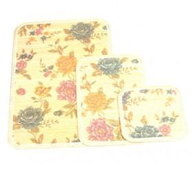 Hot Sale Floral Pattern Square Bamboo Eco-friendly Placemat Set Of 3
