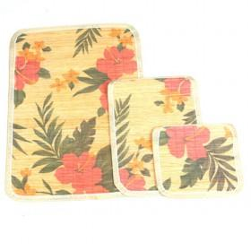 Hot Sale Flower Pattern Square Bamboo Eco-friendly Placemat Set Of 3 Table Mats