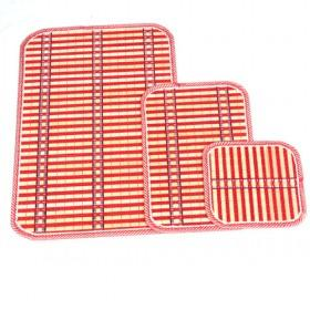 Red Rectangular Bamboo Eco-friendly Stripes Placemat Set Of 3 Table Mats