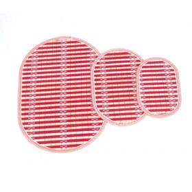 Red Oval Bamboo Eco-friendly Stripes Placemat Set Of 3 Table Mats