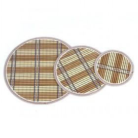 Light Brown Round Bamboo Eco-friendly Plaid Placemat Set Of 3 Table Mats